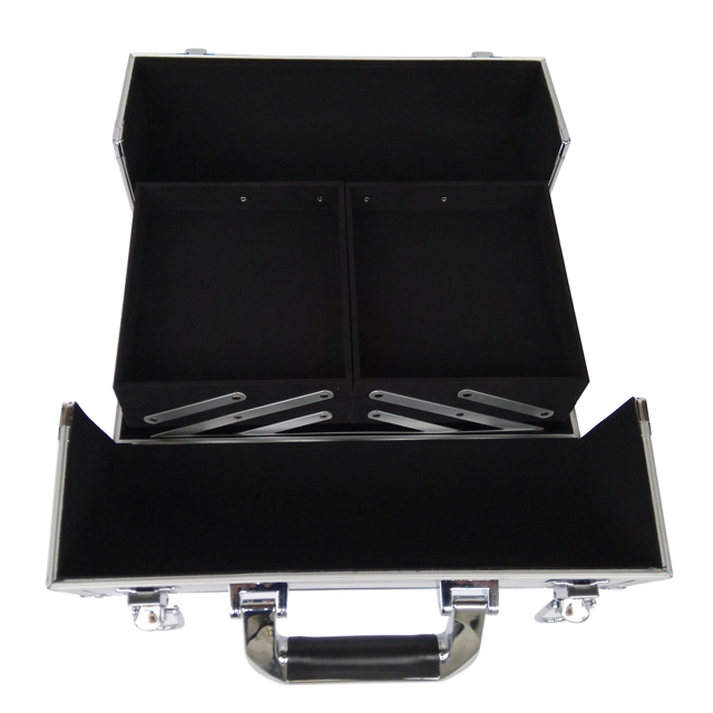 Makeup vanity case with fold out trays