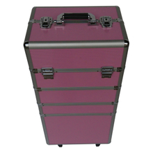 Hot selling rolling aluminum makeup case with wheels