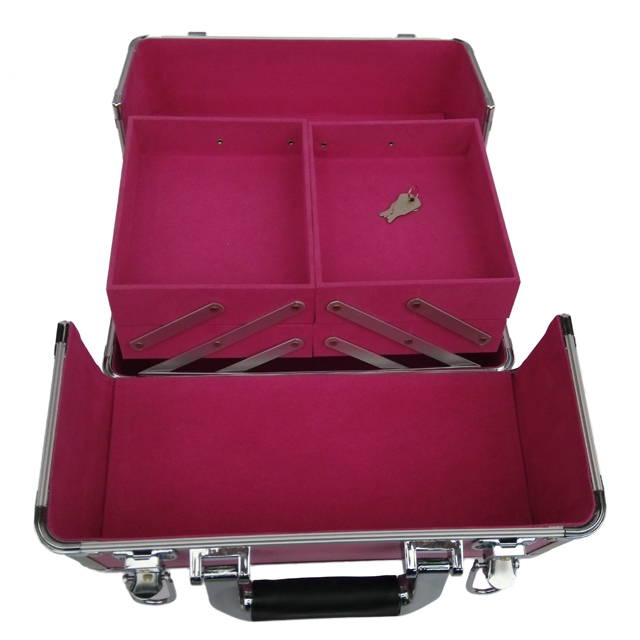 Professional aluminum jewelry box with Extendable trays