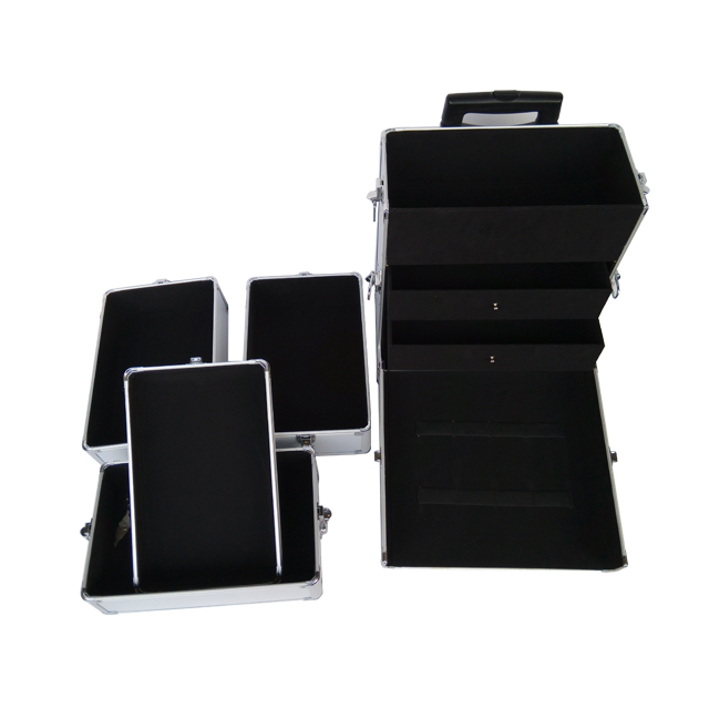 Professional 4-in-1 aluminum makeup rolling beauty case